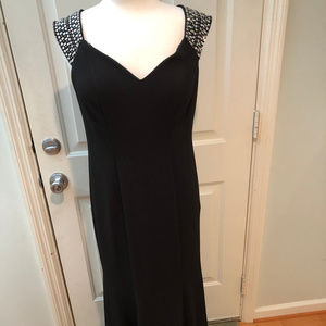 Long Black Evening Gown With Sparkle Sleeves